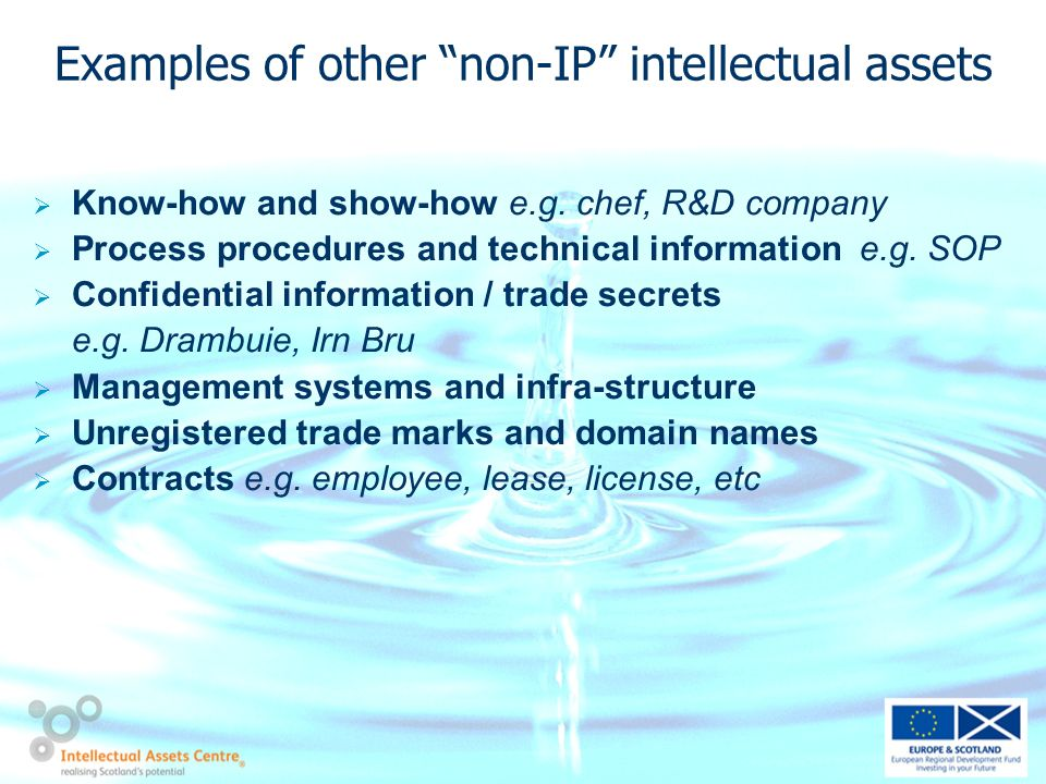 Examples of other non-IP intellectual assets Know-how and show-how e.g.