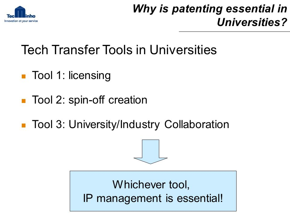 Why is patenting essential in Universities.