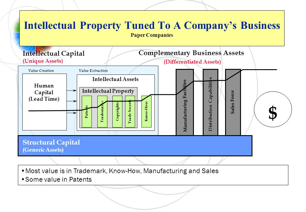 Structural Capital (Generic Assets) Intellectual Assets $ Complementary Business Assets (Differentiated Assets) Distribution Capabilities Sales Force
