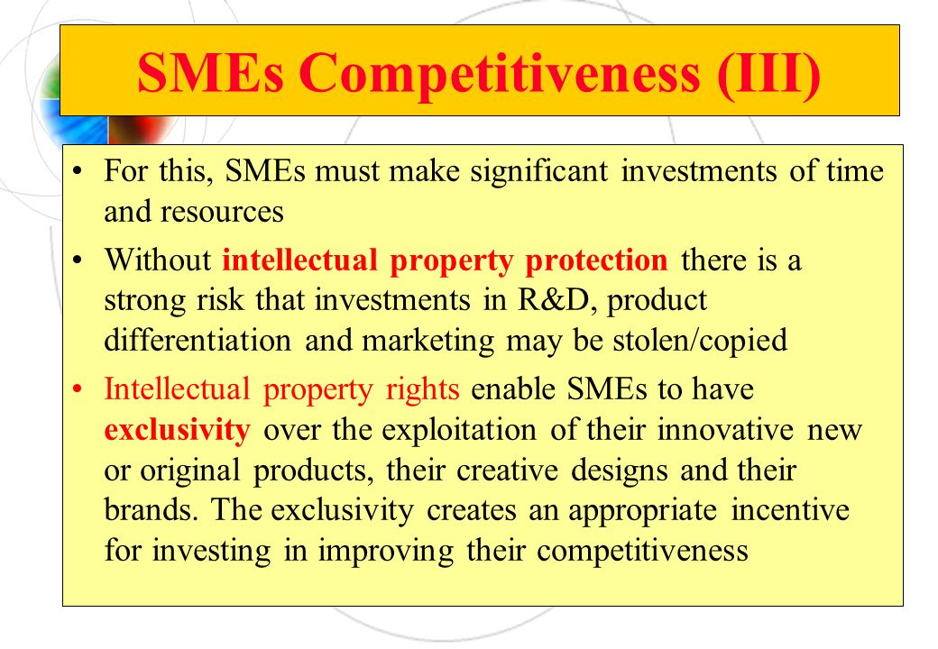 SMEs Competitiveness (III) For this, SMEs must make significant investments of time and resources Without intellectual property protection there is a
