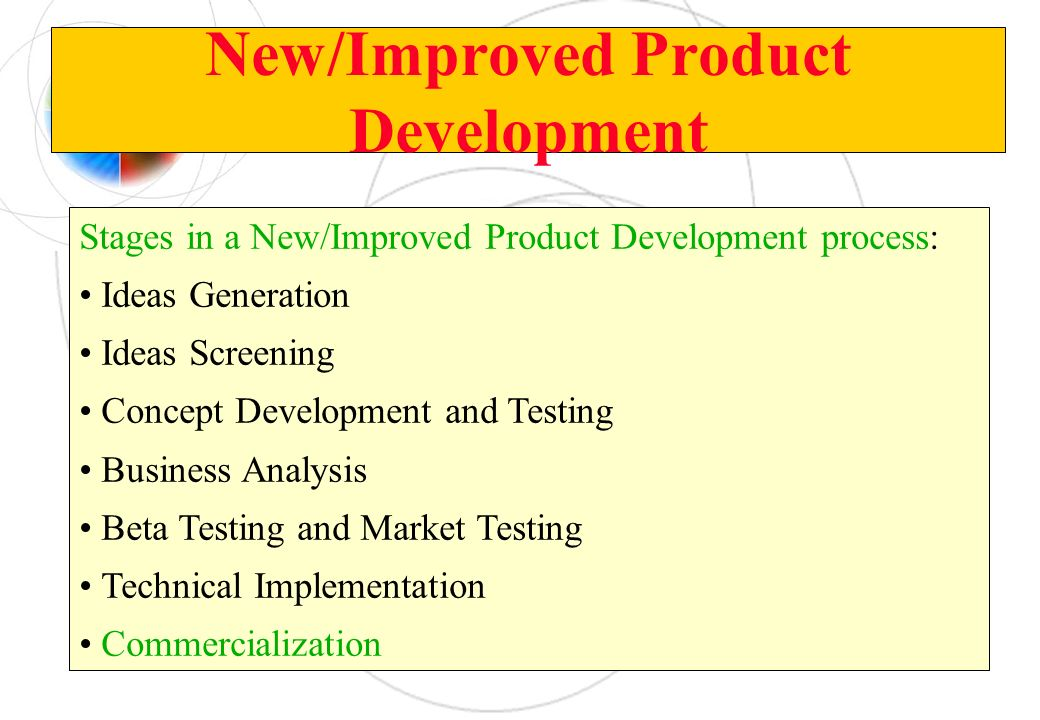 New/Improved Product Development Stages in a New/Improved Product Development process: Ideas Generation Ideas Screening Concept Development and Testin