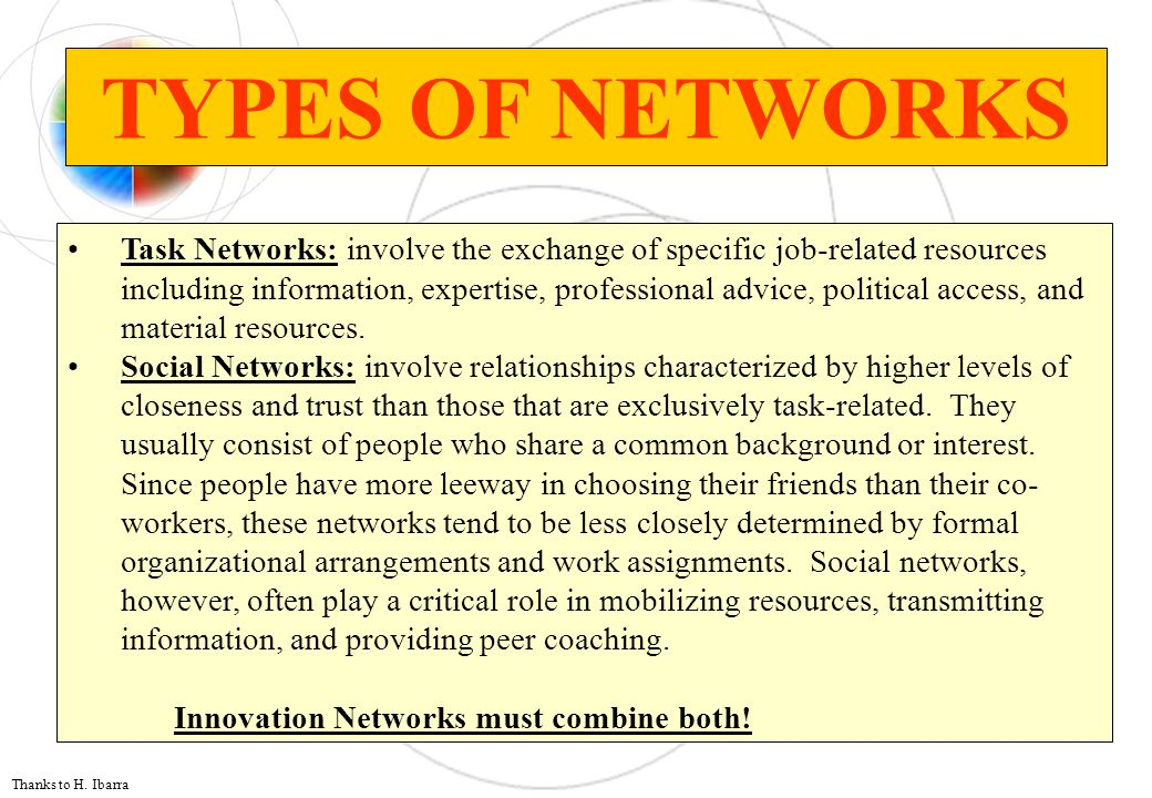 TYPES OF NETWORKS Task Networks: involve the exchange of specific job-related resources including information, expertise, professional advice, politic