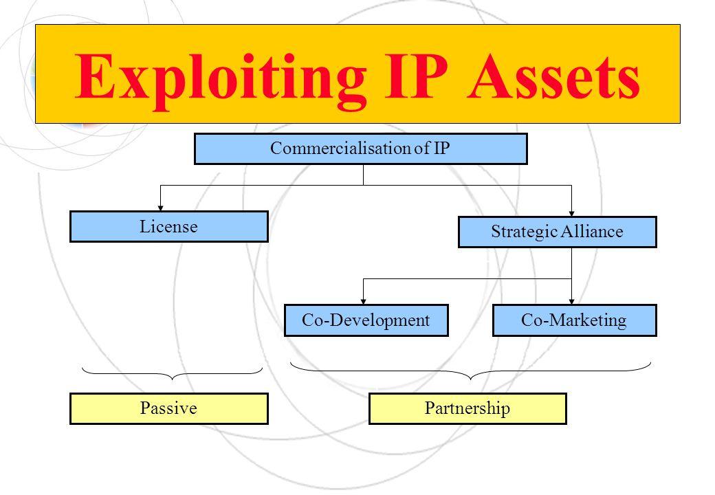 Exploiting IP Assets Commercialisation of IP License Strategic Alliance Co-DevelopmentCo-Marketing PassivePartnership