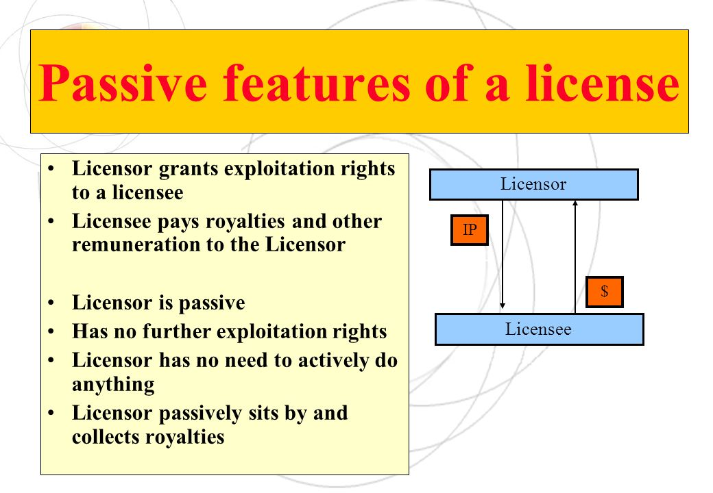 Passive features of a license Licensor grants exploitation rights to a licensee Licensee pays royalties and other remuneration to the Licensor Licenso
