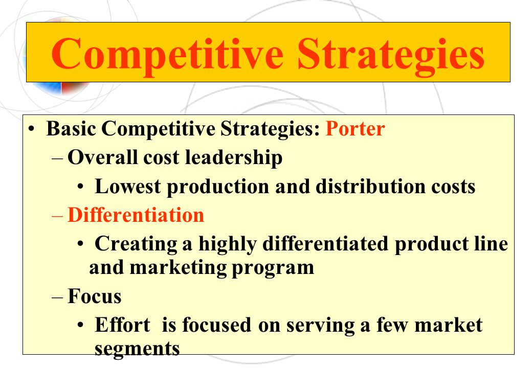 Basic Competitive Strategies: Porter –Overall cost leadership Lowest production and distribution costs –Differentiation Creating a highly differentiat