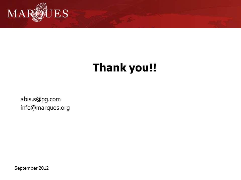 Thank you!! abis.s@pg.com info@marques.org September 2012
