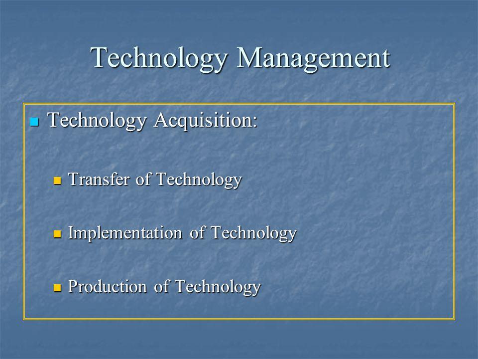 Technology Management Technology Acquisition: Technology Acquisition: Transfer of Technology Transfer of Technology Implementation of Technology Imple