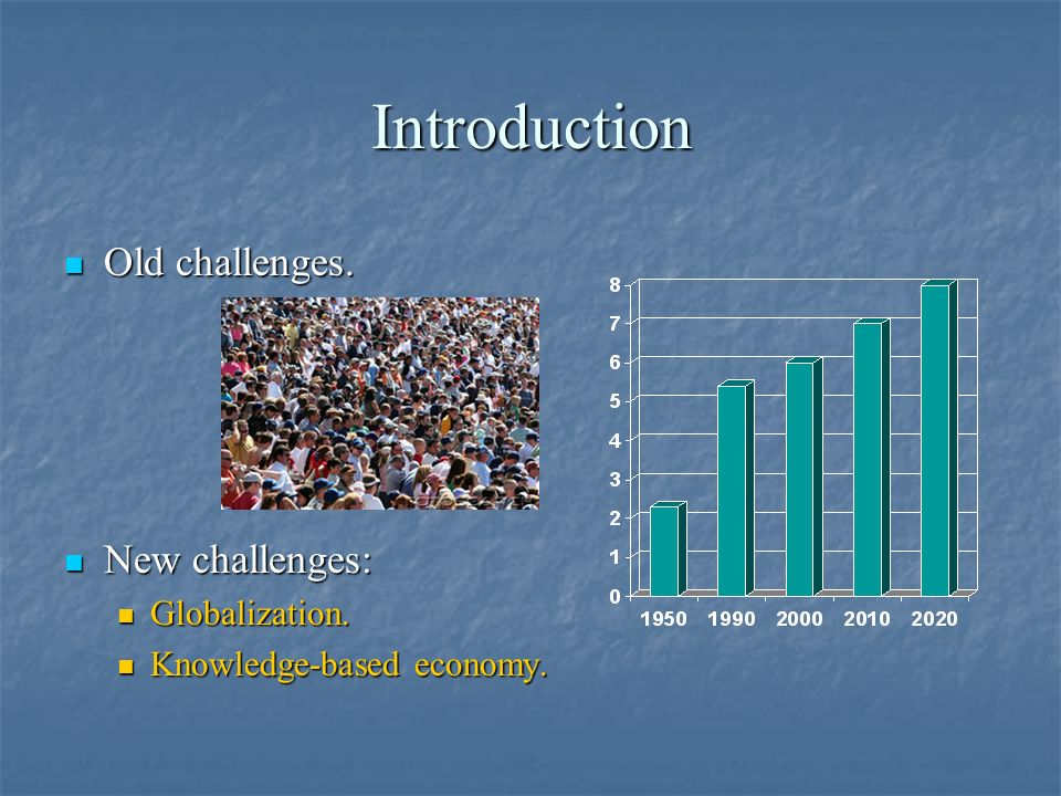 Introduction Old challenges. Old challenges. New challenges: New challenges: Globalization. Globalization. Knowledge-based economy. Knowledge-based ec
