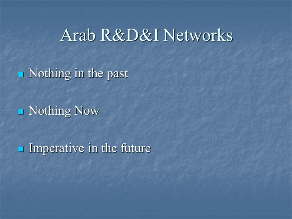 Arab R&D&I Networks Nothing in the past Nothing in the past Nothing Now Nothing Now Imperative in the future Imperative in the future