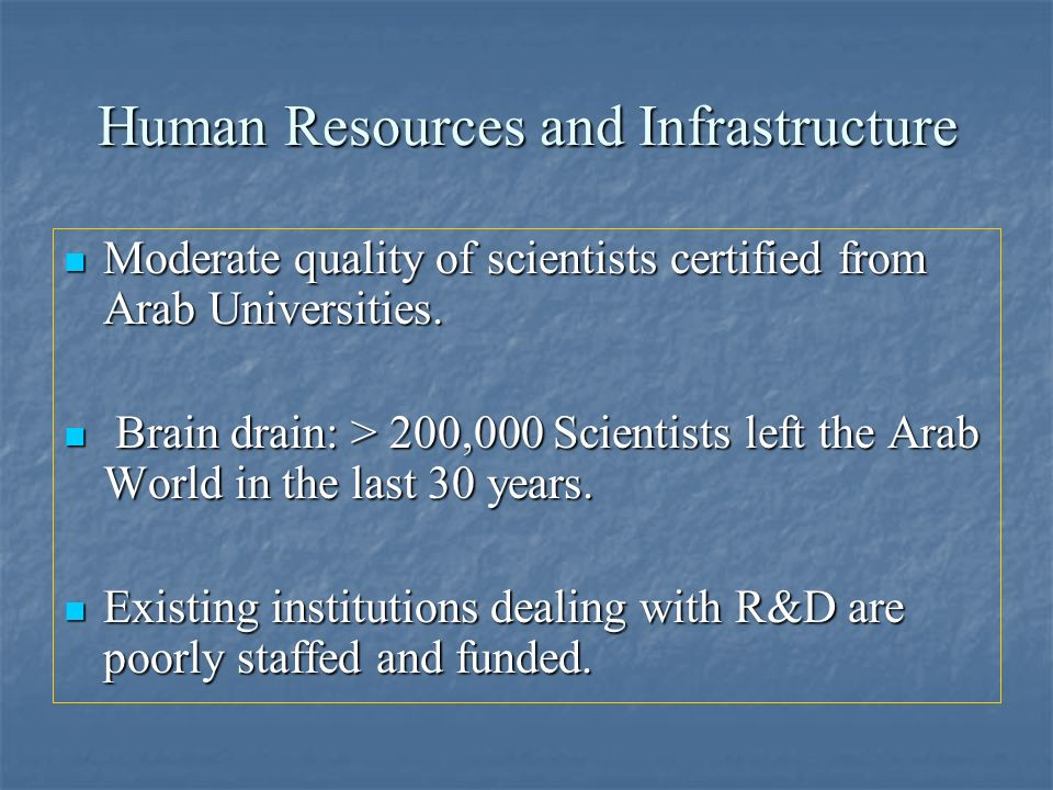 Human Resources and Infrastructure Moderate quality of scientists certified from Arab Universities. Moderate quality of scientists certified from Arab