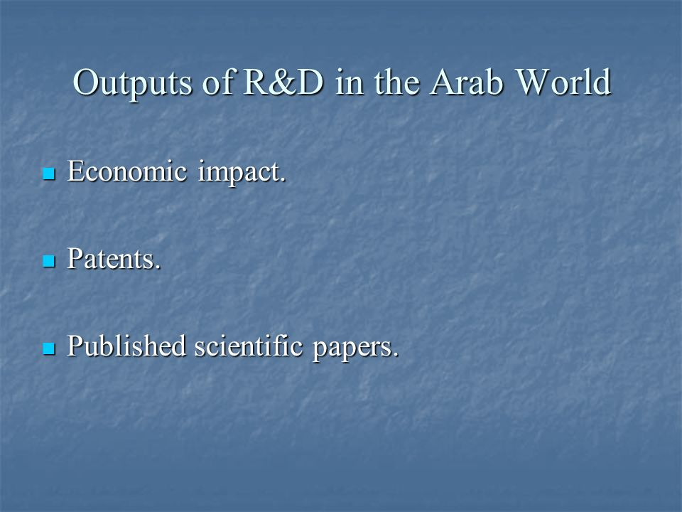 Outputs of R&D in the Arab World Economic impact. Economic impact. Patents. Patents. Published scientific papers. Published scientific papers.