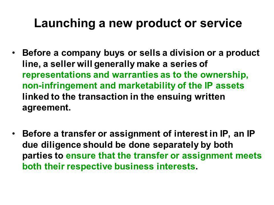 Launching a new product or service Before a company buys or sells a division or a product line, a seller will generally make a series of representatio