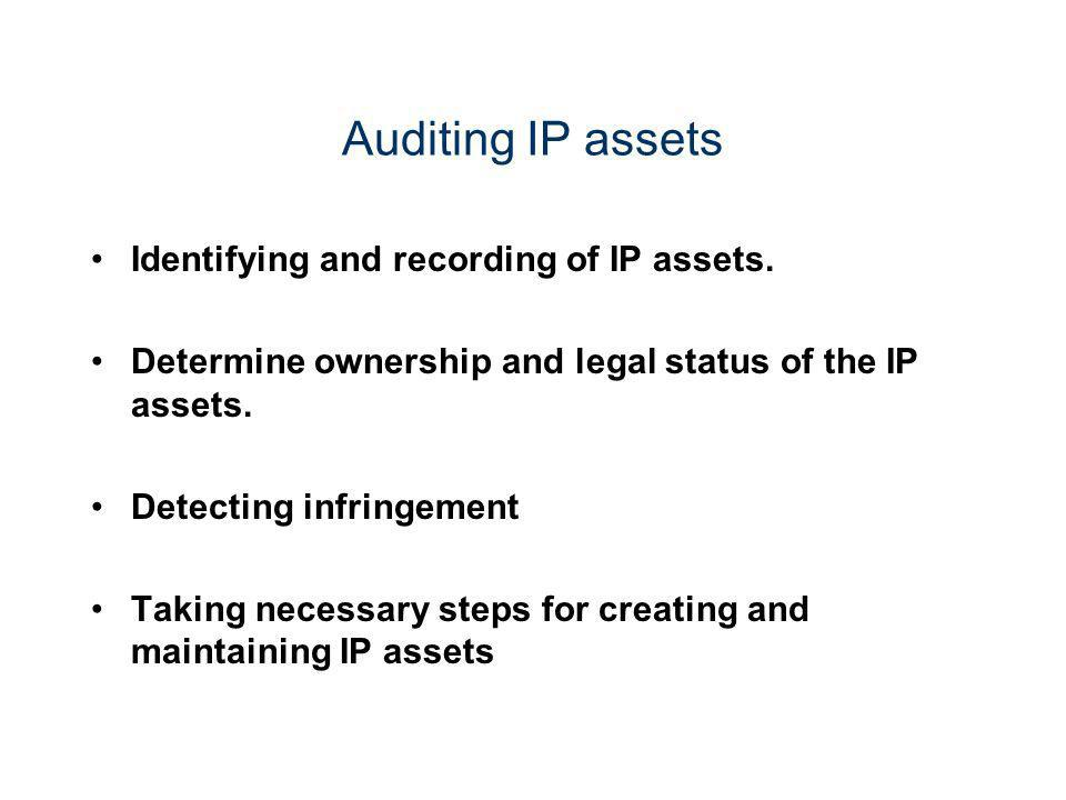 Auditing IP assets Identifying and recording of IP assets. Determine ownership and legal status of the IP assets. Detecting infringement Taking necess