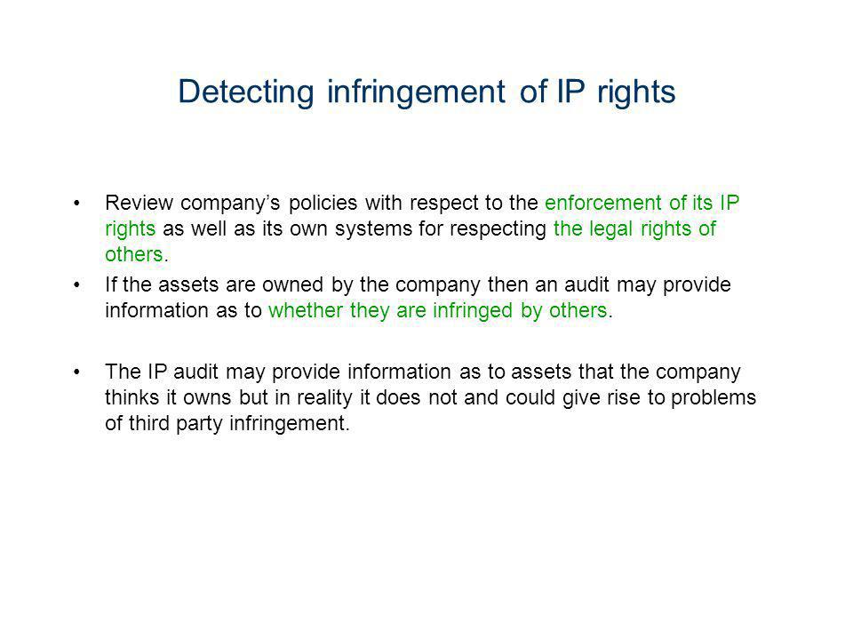 Detecting infringement of IP rights Review companys policies with respect to the enforcement of its IP rights as well as its own systems for respectin