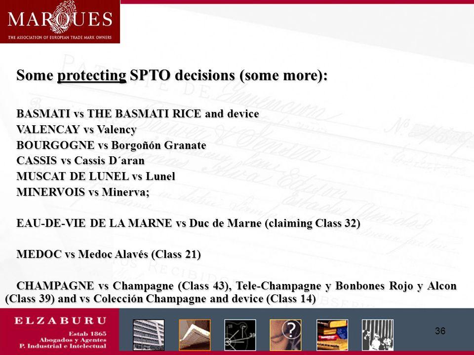 35 Some protecting Spanish Court decisions: (IGP) TERNERA GALLEGA vs trademark Terga, Ternera de Galicia (AP La Coruña, 13/5/2002) (PDO) JAMÓN DE HUEL