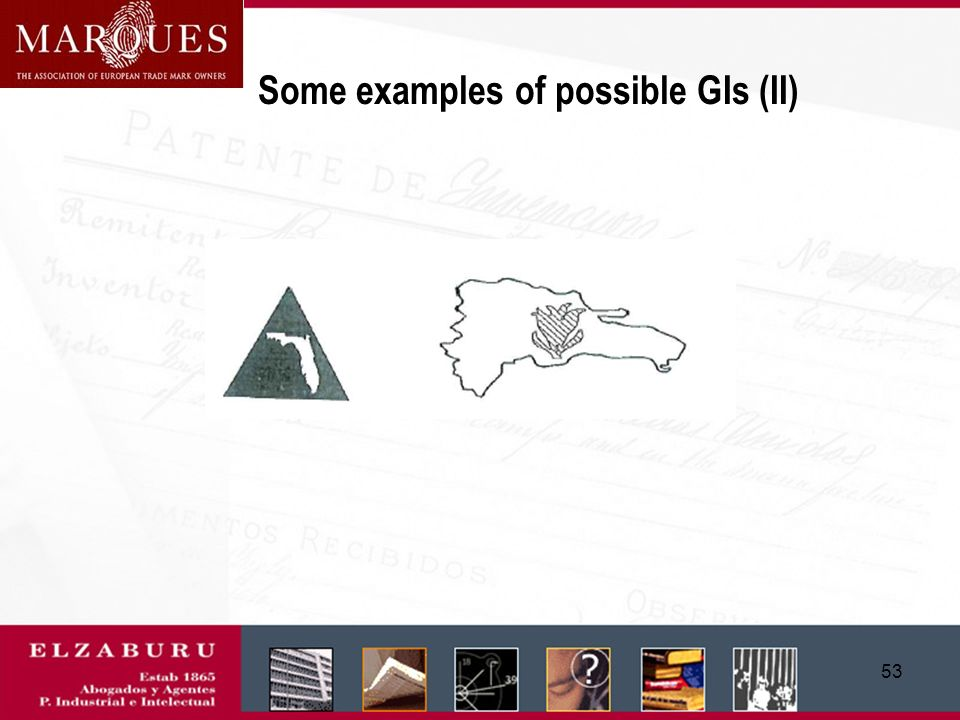 52 Some examples of possible GIs