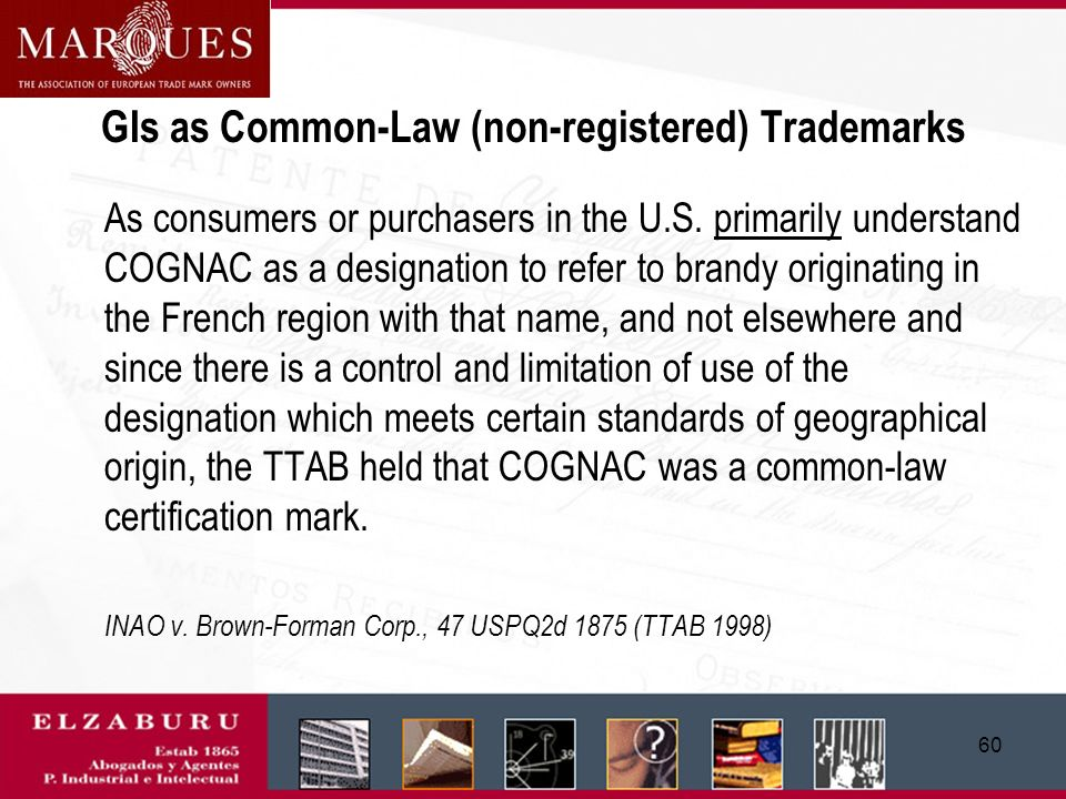 59 Protection as an individual or collective trademark In principle, GIs are descriptive, but they can be registered as individual or collective trade marks (or service marks) if they have acquired a: secondary meaning