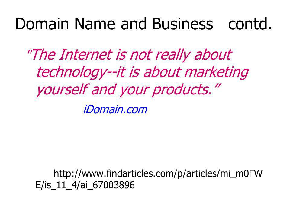 Domain Name and Business contd.