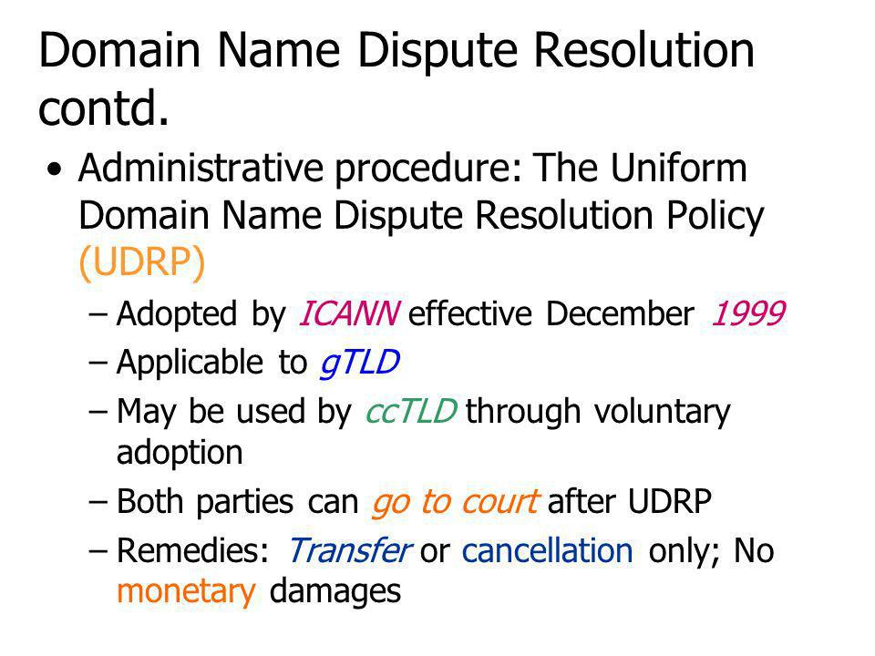 Domain Name Dispute Resolution contd.