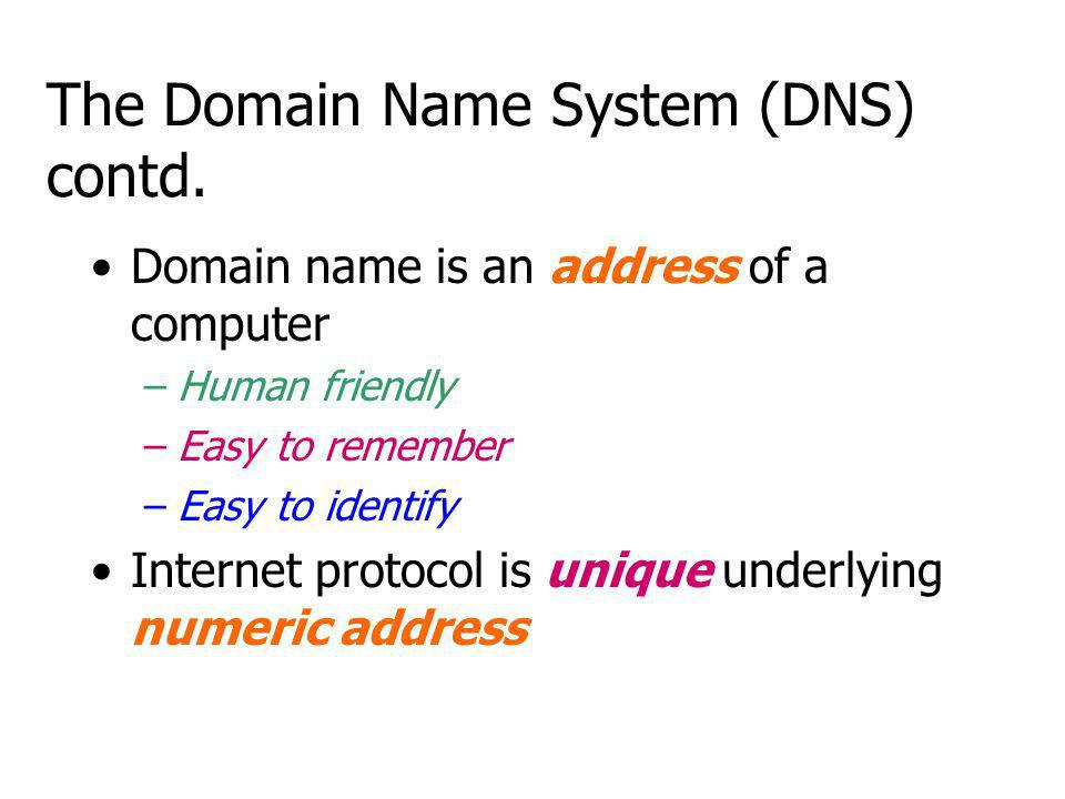 The Domain Name System (DNS) contd.
