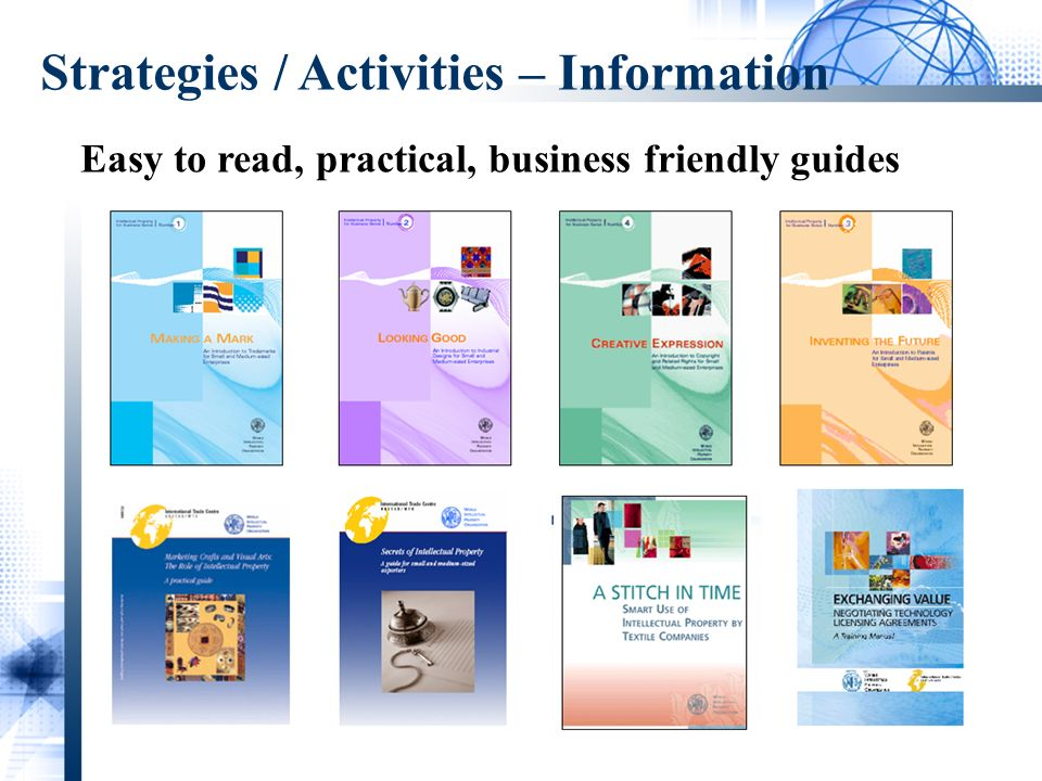 Easy to read, practical, business friendly guides Strategies / Activities – Information