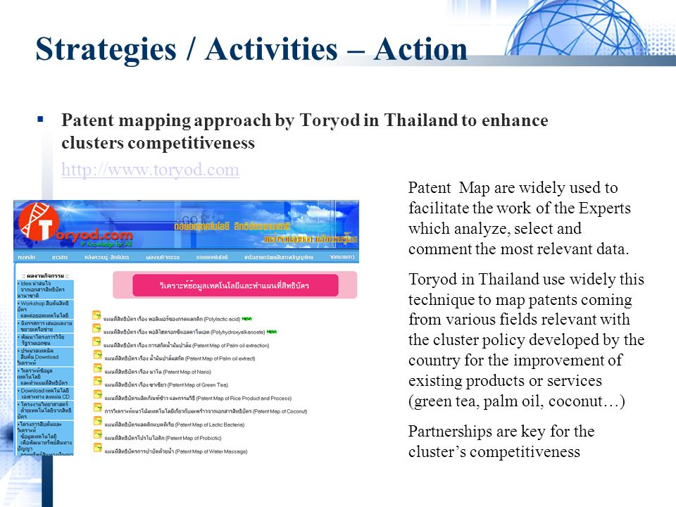 Strategies / Activities – Action Patent mapping approach by Toryod in Thailand to enhance clusters competitiveness   Patent Map are widely used to facilitate the work of the Experts which analyze, select and comment the most relevant data.