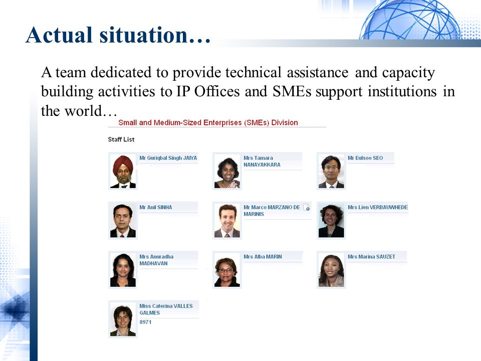 Actual situation… A team dedicated to provide technical assistance and capacity building activities to IP Offices and SMEs support institutions in the world…