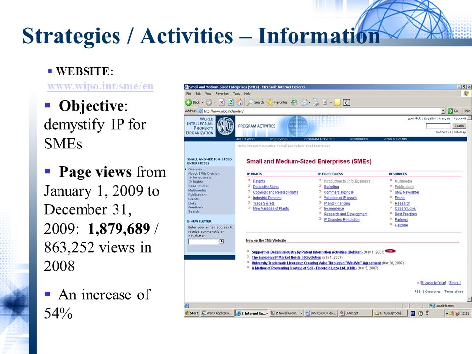 Strategies / Activities – Information WEBSITE:     Objective: demystify IP for SMEs Page views from January 1, 2009 to December 31, 2009: 1,879,689 / 863,252 views in 2008 An increase of 54%