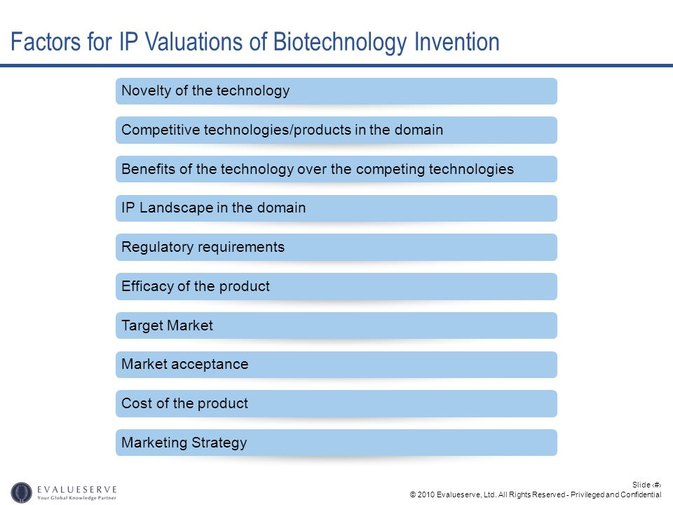 © 2010 Evalueserve, Ltd. All Rights Reserved - Privileged and Confidential Slide 16 Factors for IP Valuations of Biotechnology Invention Novelty of th