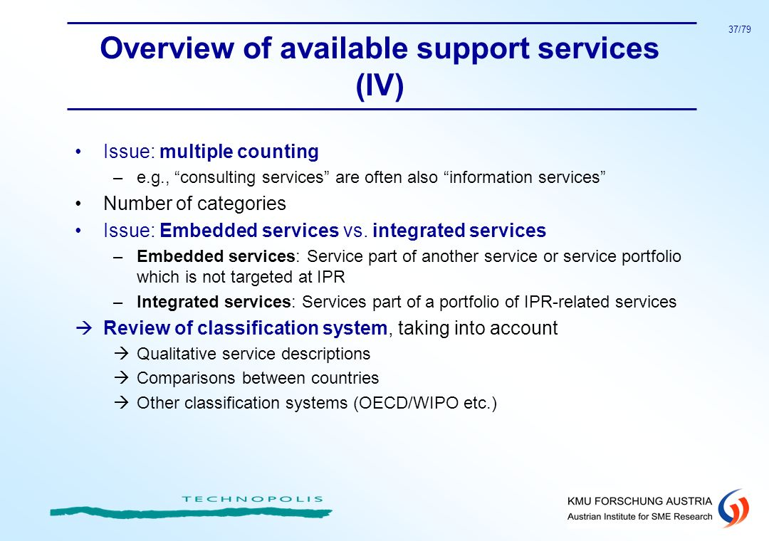 37/79 Overview of available support services (IV) Issue: multiple counting –e.g., consulting services are often also information services Number of ca