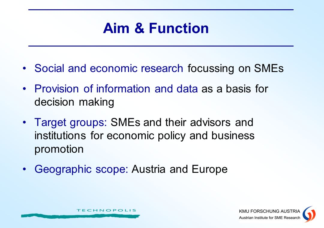 Aim & Function Social and economic research focussing on SMEs Provision of information and data as a basis for decision making Target groups: SMEs and