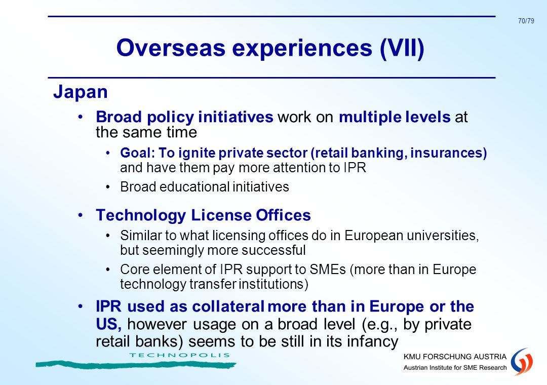 70/79 Overseas experiences (VII) Japan Broad policy initiatives work on multiple levels at the same time Goal: To ignite private sector (retail bankin