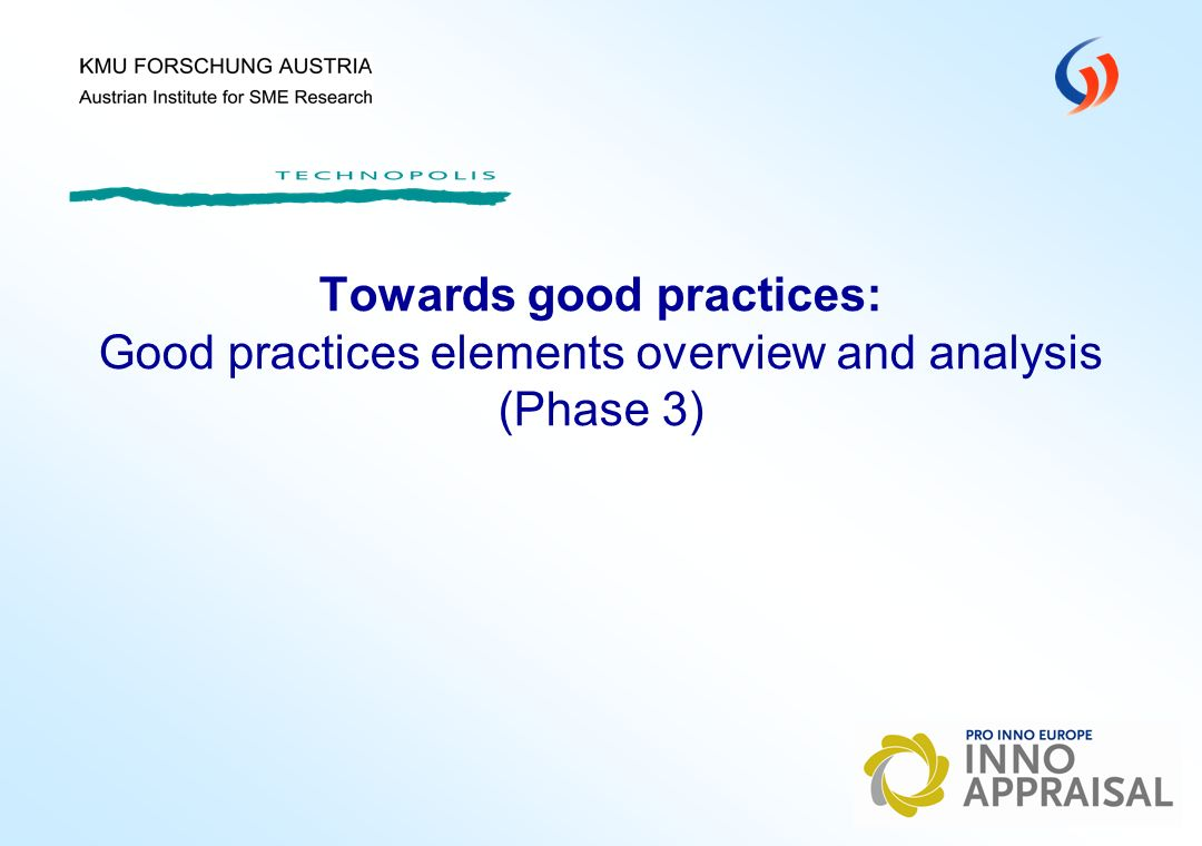 Towards good practices: Good practices elements overview and analysis (Phase 3)