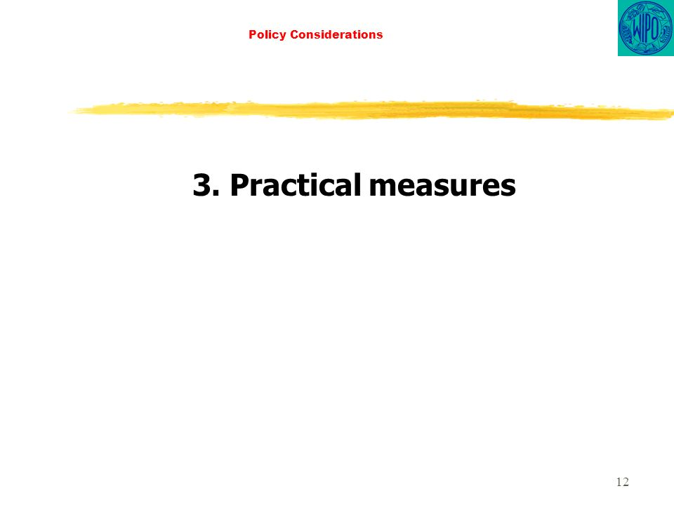 12 Policy Considerations 3. Practical measures