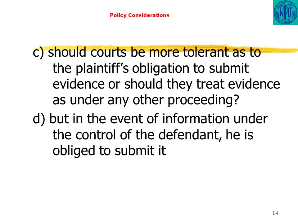 14 Policy Considerations c) should courts be more tolerant as to the plaintiffs obligation to submit evidence or should they treat evidence as under any other proceeding.