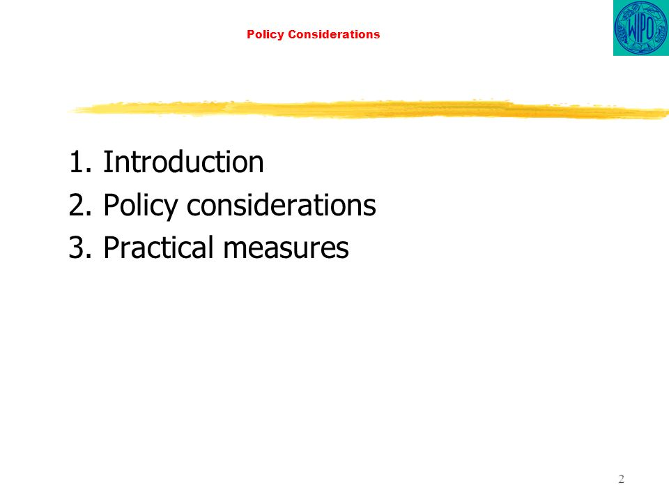 2 Policy Considerations 1. Introduction 2. Policy considerations 3. Practical measures