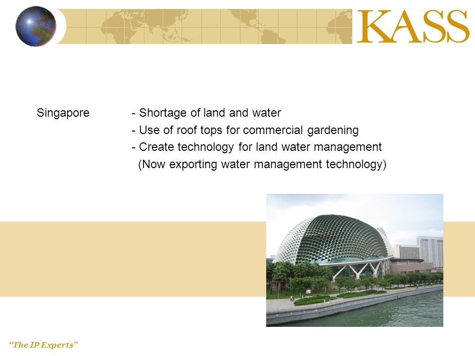 The IP Experts Singapore- Shortage of land and water - Use of roof tops for commercial gardening - Create technology for land water management (Now exporting water management technology)