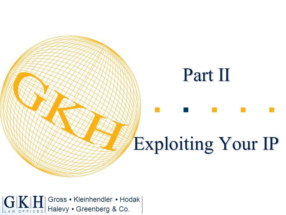 Halevy Greenberg & Co. L A W O F F I C E S Gross Kleinhendler Hodak Part II Exploiting Your IP