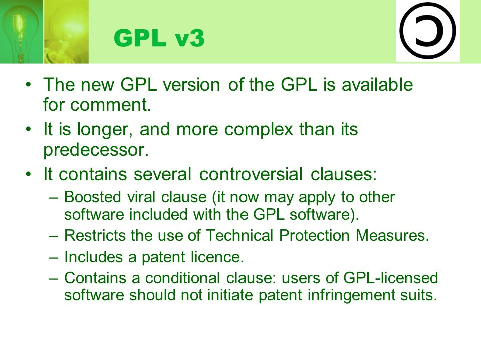 GPL v3 The new GPL version of the GPL is available for comment.