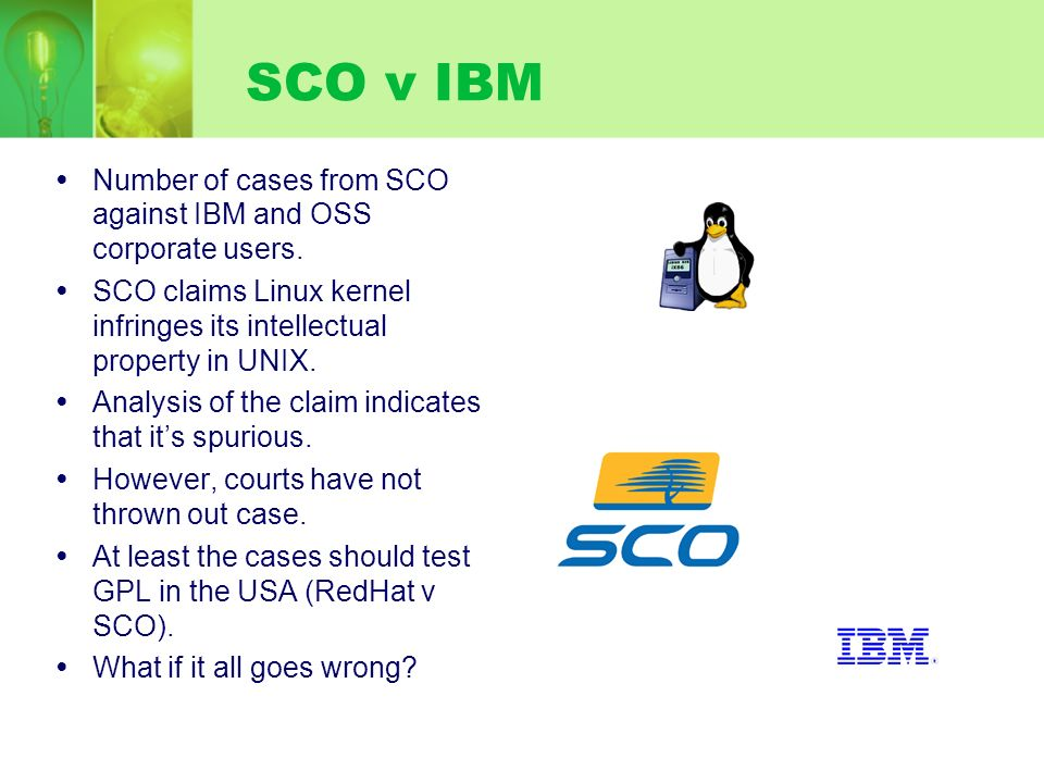 Number of cases from SCO against IBM and OSS corporate users. SCO claims Linux kernel infringes its intellectual property in UNIX. Analysis of the cla