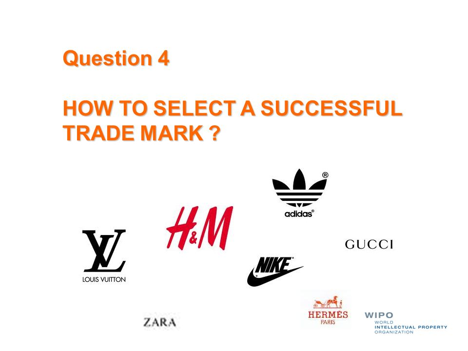 Question 4 HOW TO SELECT A SUCCESSFUL TRADE MARK ?