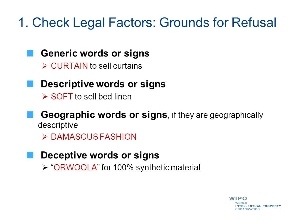 1. Check Legal Factors: Grounds for Refusal Generic words or signs CURTAIN to sell curtains Descriptive words or signs SOFT to sell bed linen Geograph
