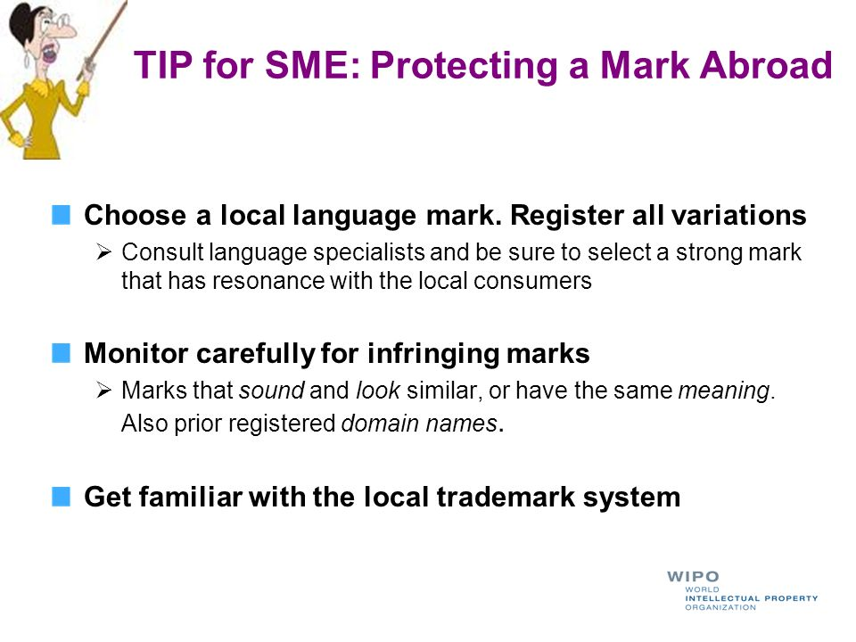 TIP for SME: Protecting a Mark Abroad Choose a local language mark. Register all variations Consult language specialists and be sure to select a stron