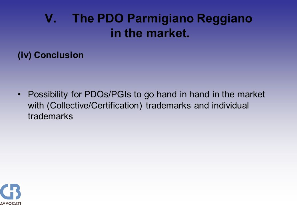 V.The PDO Parmigiano Reggiano in the market.