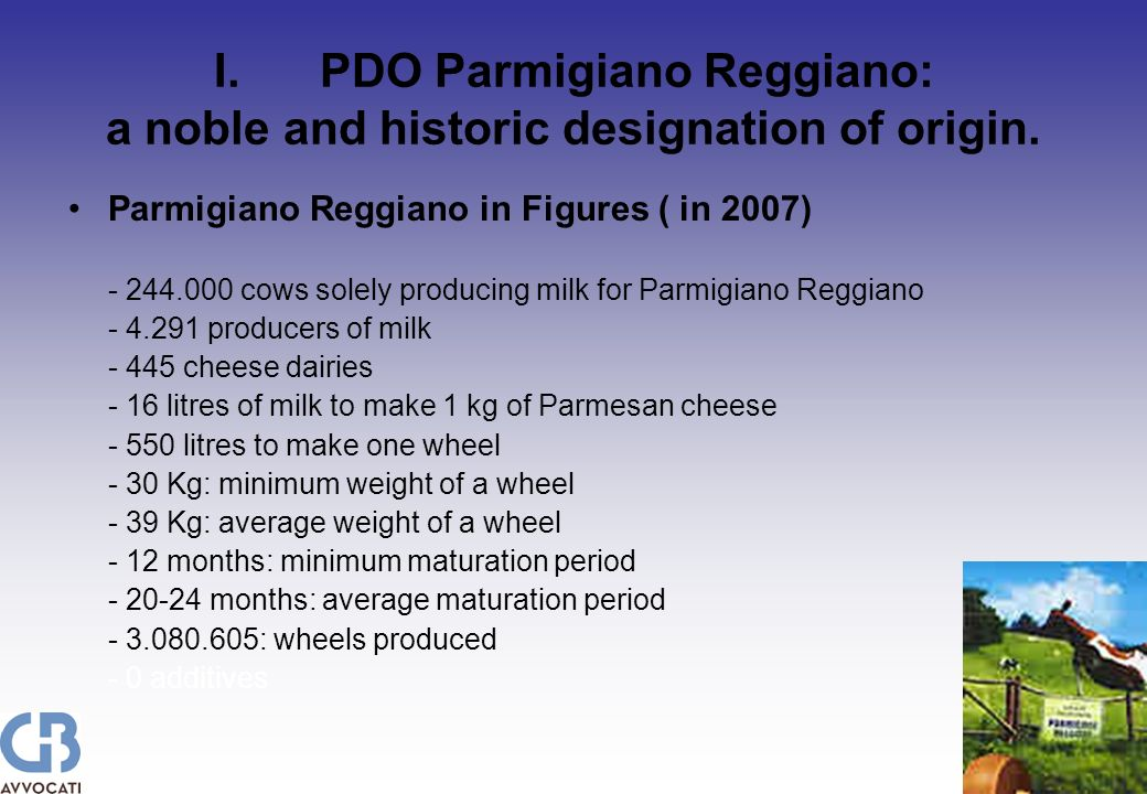 I.PDO Parmigiano Reggiano: a noble and historic designation of origin.