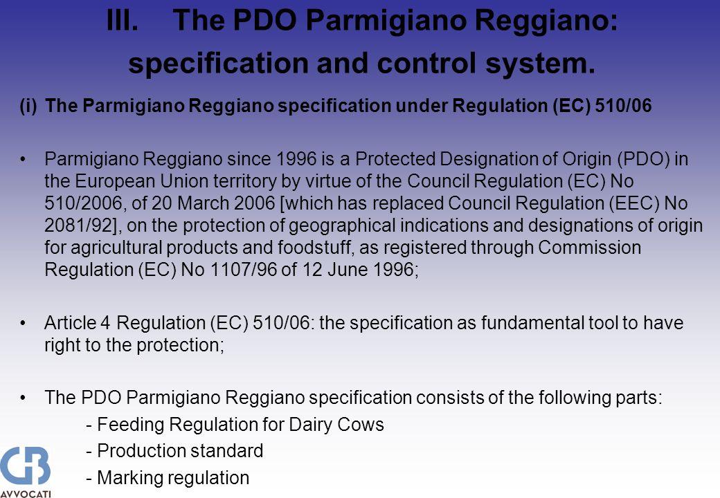 V.The PDO Parmigiano Reggiano in the market.