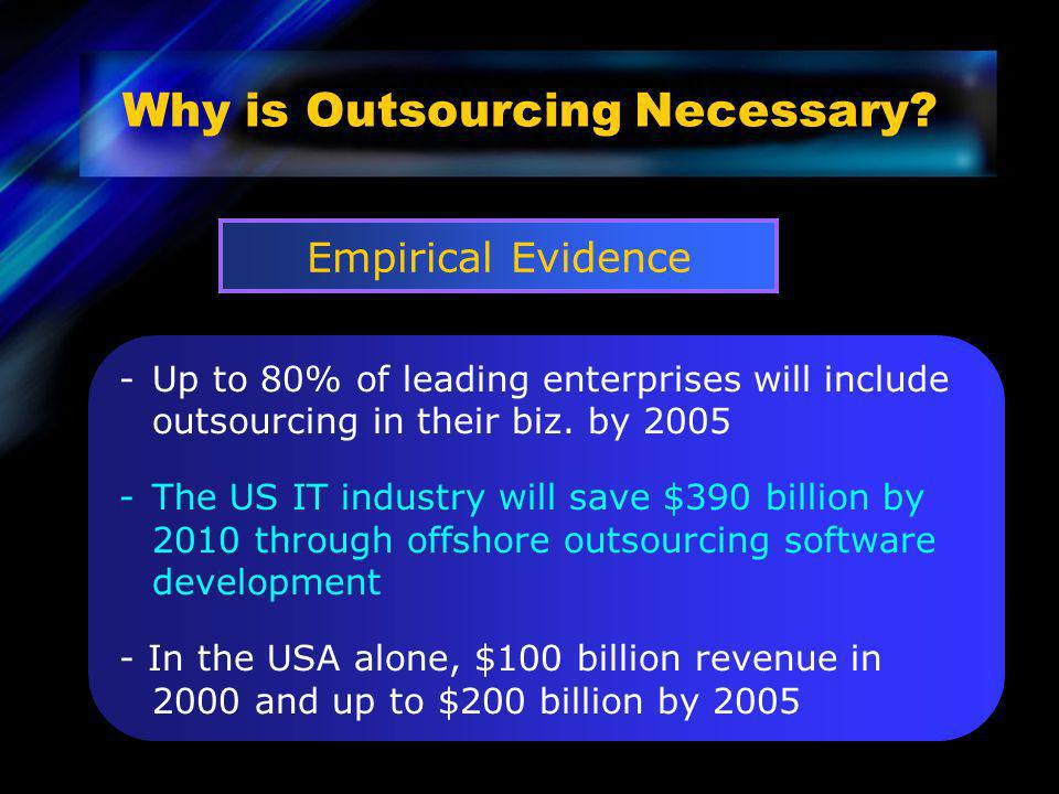 -Up to 80% of leading enterprises will include outsourcing in their biz. by 2005 -The US IT industry will save $390 billion by 2010 through offshore o