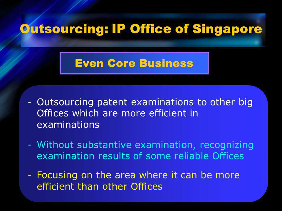 Outsourcing: IP Office of Singapore Even Core Business -Outsourcing patent examinations to other big Offices which are more efficient in examinations