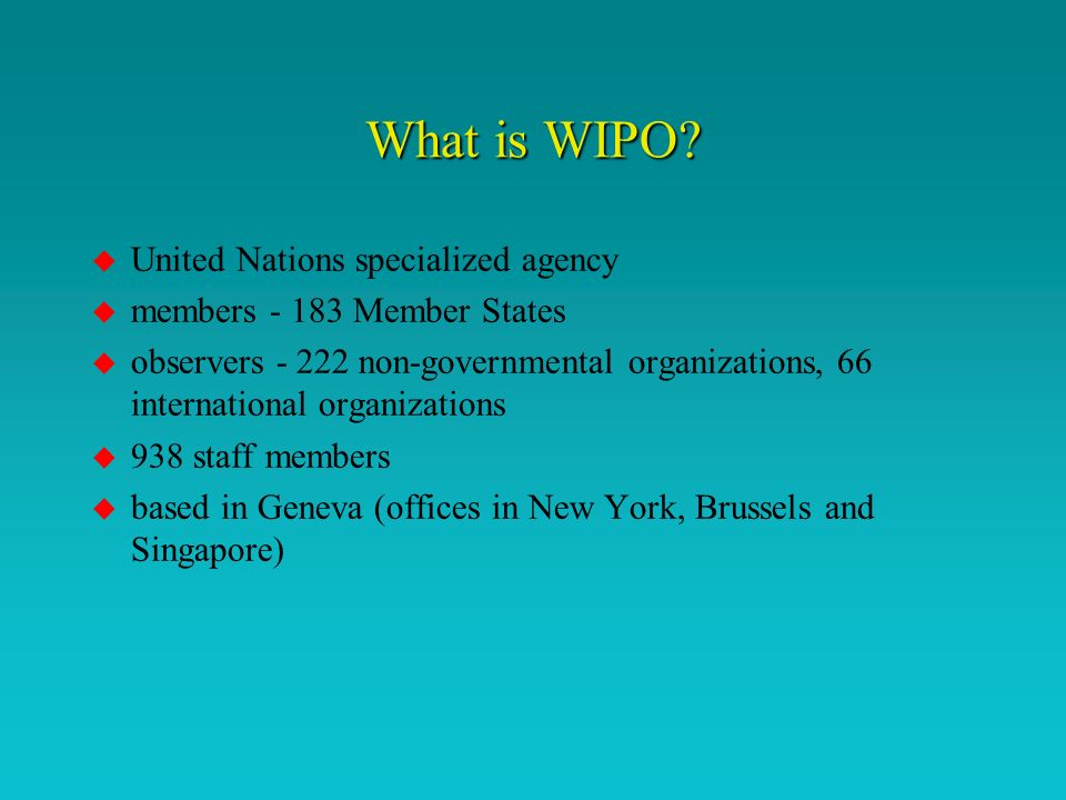 What is WIPOs purpose.