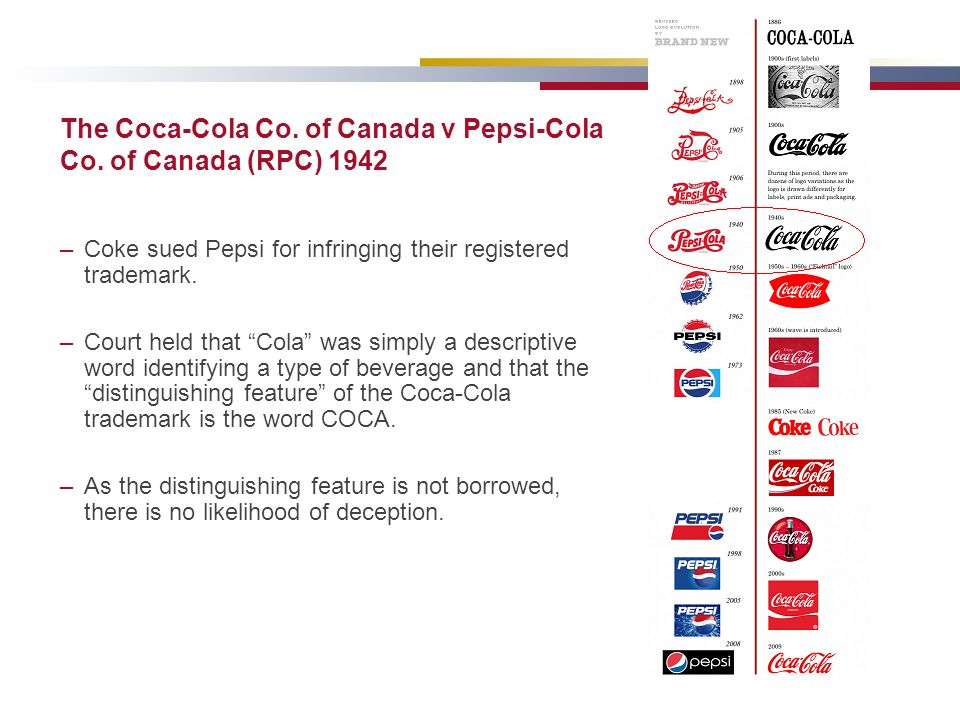 The Coca-Cola Co. of Canada v Pepsi-Cola Co. of Canada (RPC) 1942 –Coke sued Pepsi for infringing their registered trademark. –Court held that Cola wa
